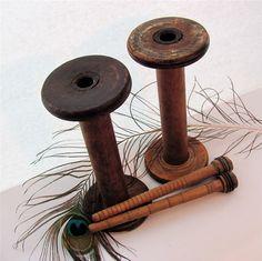 i love antique wooden spools