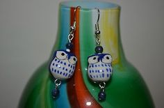Owl Blue Earrings