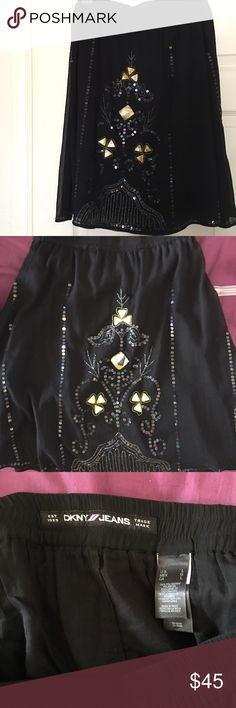 DKNY embellished midi skirt Beautiful embellished boho midi skirt all embellishments are in tact gently used excellent condition DKNY Skirts Midi