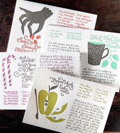 Holiday Recipes Greeting Card Set - Pack of 8 by Bison Bookbinding & Letterpress on Scoutmob Shoppe