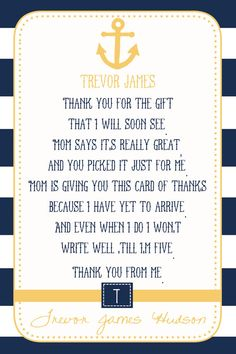 Nautical Baby Shower Thank You Card  You Print  by justmeprints, $11.00