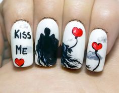 Dementors on Valentine's Day ⎮ Freehand Nail Art Tutorial ***How do you know a dementor really cares for you? He brings a box of chocolates on every date. ***