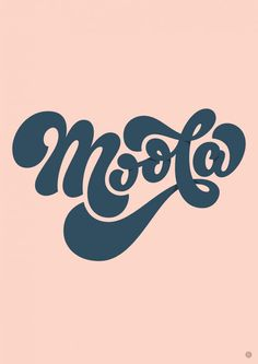 Moola! ___ Rob Clarke 70s inspired typography. typeface, pale pink, navy blue logo design. Creative inspiration