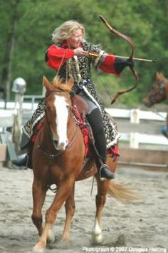 Hungarian cavalry archers or bowmen  were famed for their skill, and ability to ride away firing backwards at their foes after a feint-charge. Nowadays bow-women are just as likely to be seen in olden-times archery demonstrations.