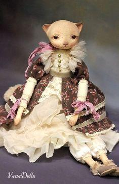 Textile Interior Doll 'Iris'   Текстильная интерьерная кукла «Кошка Айрис» — Купить, заказать, кукла, интерьер, кошка, текстильная кукла, хлопок, ручная работа