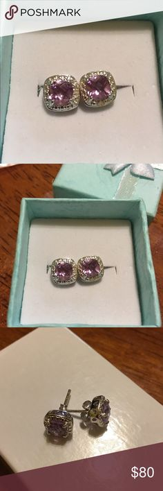 Amethyst And Diamonds These gorgeous earrings are crafted in solid.925 Sterling Silver and are designed by Victoria Townsend they contain genuine amethyst and genuine diamonds they are gorgeous💥 Trade Value 150$ Jewelry Earrings