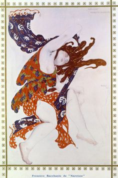 Costume design for the Premiére Bacchante in the ballet Narcisse, Leon Bakst, 1912