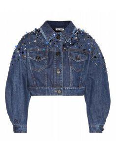 #miumiu - crystal-embellished cropped denim jacket