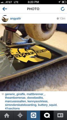 Wu41 sticker on skateboard