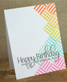 PTI Nichole Heady uses new Maile Belles Square Prints stamp. Love this CAS birth. - PTI Nichole Heady uses new Maile Belles Square Prints stamp. Love this CAS birthday card - Creative Birthday Cards, Handmade Birthday Cards, Happy Birthday Cards, Creative Cards, Card Birthday, Birthday Ideas, Happy Birthday Rainbow, Birthday Card Drawing, Birthday Card Design