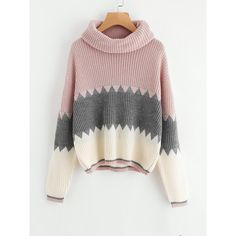 SheIn(sheinside) Roll Neck Color Block Jumper ($25) ❤ liked on Polyvore featuring tops, sweaters, multicolor, long sleeve pullover sweater, roll neck sweater, rollneck sweaters, loose sweater and multicolor sweater
