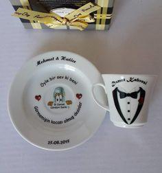Dijital baskı size özel Tuzlu Kahve Fincanları hediyeplaza.com adresinde. Turkish Coffee, Wedding Couples, Coffee Cups, Valentines Day, Mugs, Tableware, Cards, Design, Pictures