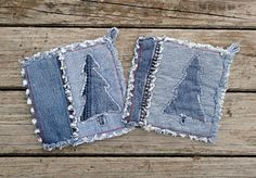 Blue Jean Potholders Embellished Denim by DenimDiva2day
