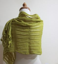 Knitting Shawl RECTANGLE Yellow Green Knitting Cool Scarf Wrap Mohair Acrylic Stole Gift For Her Spring Fashion. $78.00, via Etsy.