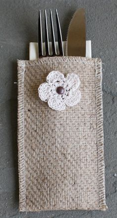 Crochet Flower Burlap Silverware Pouch- Set of 8