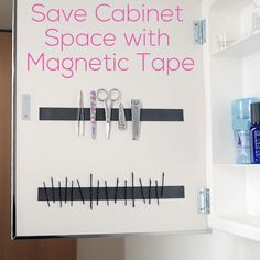 Save cabinet space with magnetic tape