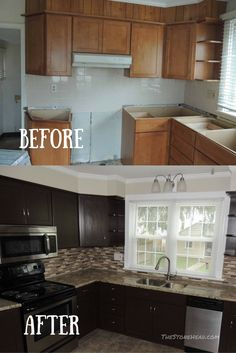 Before And After Kitchen Cabinets With General Finishes Gel Stain. It Was  So Easy To