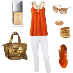 orange and gold, created by jillian769 on Polyvore