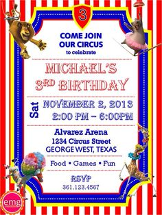 The Invitation Design I Used Circus Party Invitations Madagascar3 Birthday