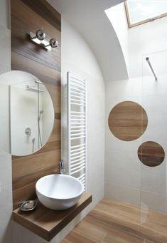 jolie salle de bain blanc marron, intérieur en bois clair Beautiful Space, Tiles, Bathtub, House Design, Mirror, Furniture, Home Decor, Small Bathrooms, Photos