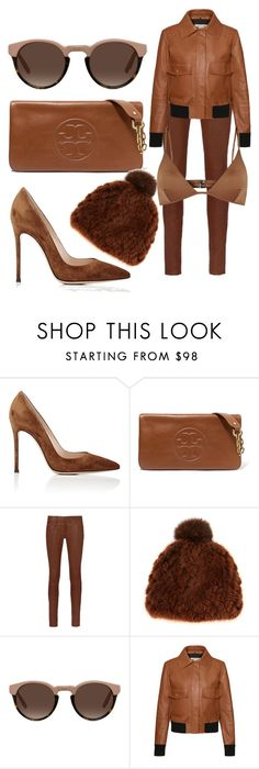 """All that brown"" by subvilli on Polyvore featuring Gianvito Rossi, Tory Burch, rag & bone, Pologeorgis, Tod's, Melissa Odabash, Leather and brown"