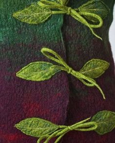 Funk Shui Felt Clothing Design by Jessica de Haas Nice closures Sewing Hacks, Sewing Crafts, Sewing Projects, Nuno Felting, Needle Felting, Felt Leaves, Creation Couture, Wool Applique, Fabric Manipulation