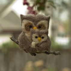 Needle Felted Owl Ornament  Family of Two by scratchcraft on Etsy, $26.00