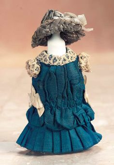 """Theriault's - Miniature Blue Silk Dress with Woven Grey Straw Bonnet, L 4"""", c 1885"""
