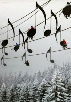 Music Note Ski Lifts in France