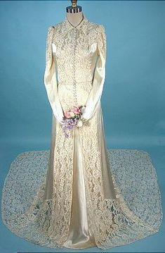 Wedding ensemble, c. 1930's. Rayon satin slip dress with rayon satin and lace coat-style gown.
