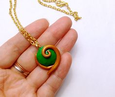 GUO GUO'S- Handmade Polymer Clay Legend of Zelda-Kokiri's Forest Emerald Necklace, made to order