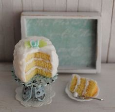Miniature Cake With Aqua Rose...LittleThingsByAnna