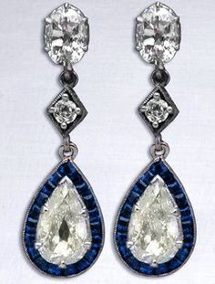 Art Deco Diamond Earrings, 1920's