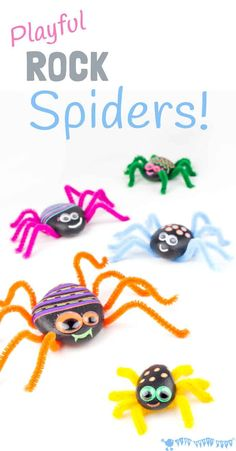 Nature Crafts PLAYFUL ROCK SPIDER CRAFT is adorably cute! Homemade spiders are fab for year round imaginative play, acting out Itsy Bitsy Spider songs and Halloween! A fun pebble nature craft for kids. Halloween Crafts For Kids, Easy Crafts For Kids, Craft Activities For Kids, Preschool Crafts, Projects For Kids, Diy For Kids, Craft Ideas, Craft Projects, Cheap Halloween