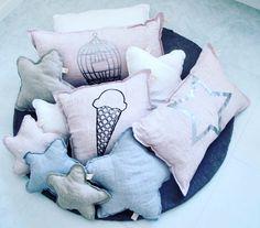 Handmade linen cushions for kidsroom decor