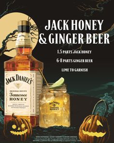 Scare Up a Round of Jack Honey & Ginger Beer parts Jack Daniel's Honey, parts ginger beer. Fall Drinks, Cocktail Drinks, Cocktail Recipes, Alcoholic Drinks, Beverages, Mixed Drinks, Jack Daniels Honey Drinks, Cocktail Videos, Halloween Cocktails