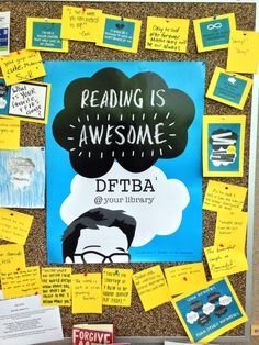 """TFIOS quote board in my library. I placed blank paper for teens to share their favorite quotes from the book.  Also displayed """"read-alike"""" books similar to John Green and TFIOS"""