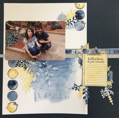 Lydie - page atelier aquarelle - Prima Marketing, Album Photo, Scrapbook Pages, Sketches, Cool Stuff, Inspiration, Design, Cousins, Watercolor Paper