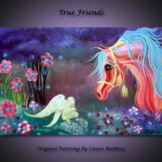 fantasy horses images | True Friends - Horse Angel Painting by Laura Barbosa - Fantasy Art ...