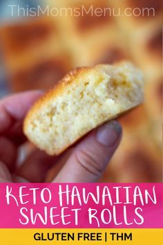 These Keto Hawaiian Sweet Rolls are so easy to make, using common low carb and gluten-free ingredients. Enjoy them warm from the oven with butter, or top them with your favorite sandwich fixings. #thismomsmenu #keto #hawaiianrolls #glutenfree #lowcarb #thm #ketobreadrecipes