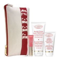 Feed 15 Set    FEED Your Skin, FEED Your Soul  Your purchase of Clarins FEED 15 Pouch will provide 15 school meals through the United Nations World Food Programme (WFP). Clarins FEED 15 Pouch contains 3 deluxe travel-sizes of Clarins most iconic products: Hand and Nail Treatment Cream, Moisture-Rich Body Lotion and Instant Light Natural Lip Perfector (01 Rose Shimmer).