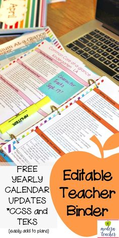 Everything you need in ONE place, FINALLY! Editable Teacher Binder; Teacher Planner; Get organized and save time! Includes Common Core and TEKS so you can easily add them to your lesson templates, back to school ORGANIZATION, FREE yearly calendar updates; take the guesswork out of what you need organizing, $