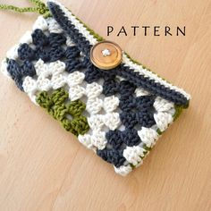 Thursday's Handmade Love week 71 Theme: Wristlet bag  Crochet Granny Square Wristlet Clutch PDF Pattern. Instant Download via Etsy