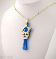 READY TO SHIP Sailor Moon Inspired Sailor Mercury Henshin/Transformation Wand Necklace - $25.00 via KumaCrafts on Etsy.
