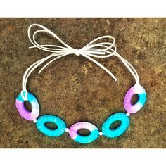 Crochet Jewelry Chain Unique Handmade Blue White Purple Large Tribal... ($56) ❤ liked on Polyvore featuring jewelry