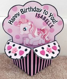Pink Pony Pop Up Box Card by TheBlenheimCardCo on Etsy