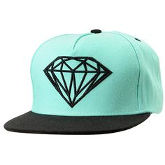 Make your mark in the Brilliant hat from Diamond Supply Co This Diamond blue and black hat features a mint body, black flat bill, custom snapback size piece, and an embroidered logo outline on the front. Custom style for your hat collection, make it the B