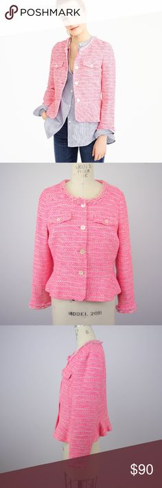 J Crew Peplum Lady Jacket Pink Tweed Blazer 10 NEW $198 J Crew Womens Peplum Lady Jacket Sz 10 Neon Fuchsia Pink Tweed Blazer Description  Material: 50% acrylic, 34% cotton,, 12% polyester, 4% viscose, 5% elastane Size: 10  Measurements (in inches):  Shoulder: 15 Armpit-to-armpit: 19 Length: 21 Sleeve: 23 **All our products come from a clean and smoke-free household.** J. Crew Jackets & Coats Blazers