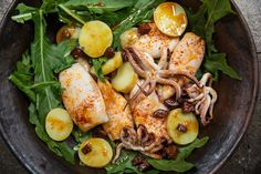 Recipe: Roasted Squid With Chorizo and Pimentón || Photo: Stephen Scott Gross for The New York Times