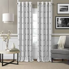 Elrene Home Fashions Kaiden Geometric Room Darkening Thermal Grommet Single Curtain Panel Color: Thermal Curtains, Grommet Curtains, Hanging Curtains, Blackout Curtains, Drapes Curtains, Bedroom Curtains, Window Drapes, Window Scarf, French Curtains